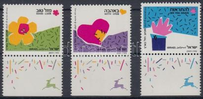 Greeting stamp set with tab, Üdvözlőbélyeg tabos sor