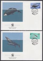 WWF Whales set on 4 FDC, WWF bálnák sor 4 FDC