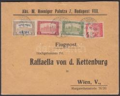 Mi 241 + additional franking on airmail cover to Vienna, 1918.07.10. 3. súlyfokozatú légi levél Bécsbe Repülő posta 4K50f + díjkiegészítéssel
