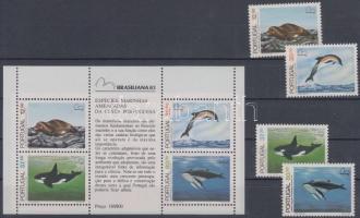 BRASILIANA International Stamp Exhibition set + block, BRASILIANA nemzetközi bélyegkiállítás sor + blokk
