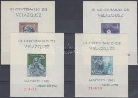 Velazquez's 300th death anniversary 4 imperforated block, Velázquez halálának 300. évfordulója 4 vágott blokk
