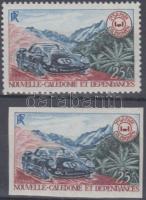 Car safari perforated + imperforated stamp, Autós szafari fogazott + vágott bélyeg