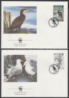 1989 WWF Tengeri madarak négyescsík + ugyanaz a sor 4 FDC-n Mi 408-411