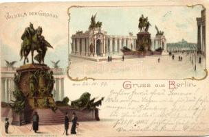 1899 Berlin, Wilhelm der Grosse / statue, Art Nouveau litho