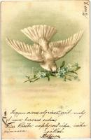 Bird with flower, litho