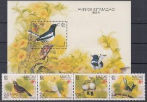 1995 SINGAPORE nemzetközi bélyegkiállítás: énekesmadarak négyescsík Mi 814-817 + blokk Mi 30