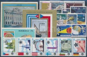 1973-1978 21 diff. stamps with 2 stripes of 5 + 3 diff. blocks, 1973-1978 21 klf bélyeg, közte 2 ötöscsík + 3 klf blokk