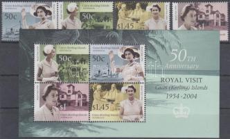 2004 A királyi látogatás 50. évfordulója sor (közte pár) Mi 416-419 + blokk Mi 15