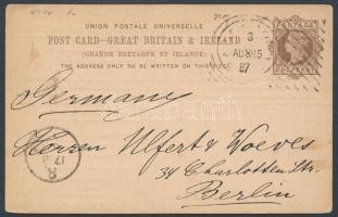 1887 Díjjegyes levelezőlap kísérleti bélyegzéssel Berlinbe