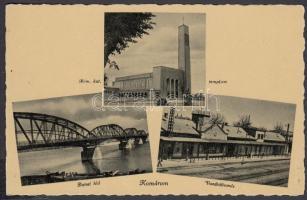 Komárno, church, bridge, railway station, Komárom, Római katolikus templom, Dunai híd, Vasútállomás