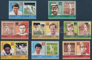 Cricket players 8 pairs (set), Krikett játékosok 8 pár (sor)