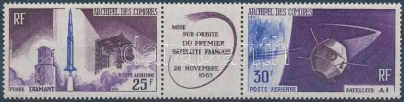 1966 Első francia műhold a világűrben hármascsík Mi 72-73