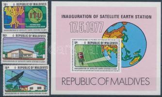 1977 A maldív-szigeteki műholdkövető állomás üzembe helyezése sor Mi 698-700 + blokk Mi 44