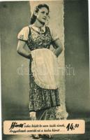 Hungarian dress advertisement, 'Hímes' ruha reklám, Magyar Divatcsarnok, Budapest VII. Rákóczi út 70-76.