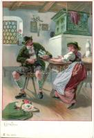 Alpine folklore, unknown publisher No. 6878 litho, Alpesi folklór, ismeretlen kiadó No. 6878 litho