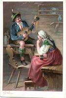 Alpine folklore, unknown publisher, litho, Alpesi folklór, ismeretlen kiadó, litho