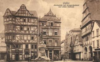 Giessen, Marktplatz, Kriegerdenkmal, Rathaus / square, statue, town hall, shops, Nr. 9.