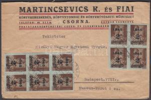 1945 (5. díjszabás) Távolsági céges levél Kisegítő 20x2P/4f + 10x8P/20f bérmentesítéssel