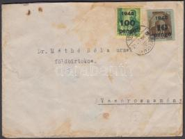 1945 (5. díjszabás) Távolsági levél Kisegítő 10x1P/1P + 10P/80f + 100P/12f bérmentesítéssel