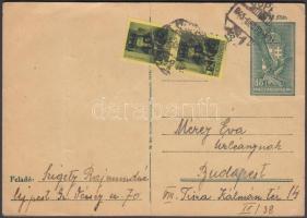 1945 (5. díjszabás) Távolsági levelezőlap 2xKisegítő 40P/8f bérmentesítéssel