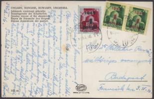 1945 (3. díjszabás) Távolsági képeslap Kisegítő 2x1P/1P + 4p/30f bérmentesítéssel