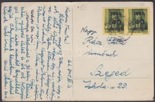 1945 (5. díjszabás) Távolsági képeslap 2xKisegítő 40P/8f bérmentesítéssel