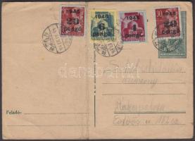 1945 (5. díjszabás) Helyi levelezőlap Kisegítő 4P/30f + 6P/50f + 2x20P/30f bérmentesítéssel (hajtott)