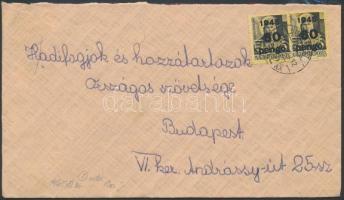 1945 (5. díjszabás) Helyi levél 500 g-ig Kisegítő 2x60P/18f bérmentesítéssel (hajtóka nélkül)