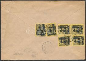 1945 (5. díjszabás) Távolsági ajánlott levél Kisegítő 6x60P/18f bérmentesítéssel