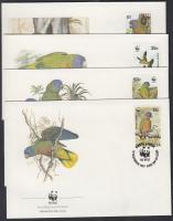 WWF Parrots set on 4 FDC, WWF Papagáj sor 4 FDC