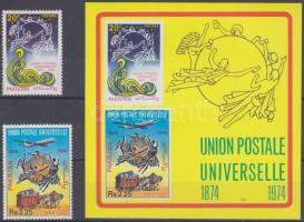 UPU Centenary perforated set + imperforated block, 100 éves az UPU fogazott sor + vágott blokk