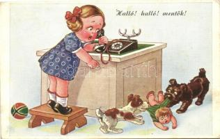 Girl with telephone, emergency call, dogs, humour, Halló! halló! mentők! gyerekek, kutyák, humor