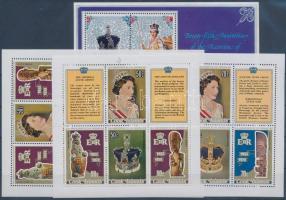1977-1978 II. Erzsébet uralkodásának 25. évfordulója 2 kisív + 2 blokk, 25th anniversary of Elizabeth II.'s reign 2 mini sheets + 2 blocks