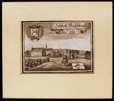cca 1750 Schloss M. Aschbach, acél metszet, papír, paszpartuban, 12,5×17,5 cm / 1750 Schloss March Aschbuch steel engraving