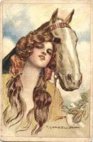Lady and horse, Italian art postcard, 532-6. s: T. Corbella, Hölgy lóval, olasz művészeti képeslap, 532-6. s: T. Corbella