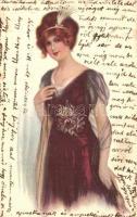 Italian art postcard, lady, No. 4059., Hölgy, olasz művészeti képeslap, No. 4059.