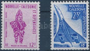 Defintive: Mask and airplane 2 diff. stamps, Forgalmi: maszk és repülőgép 2 klf bélyeg
