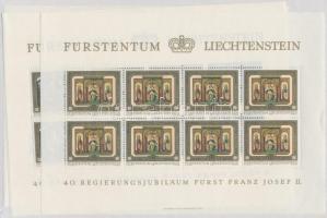 40th anniversary of II. Prince Franz Joseph's reign minisheet set minisheet set, II. Ferenc József herceg uralkodásának 40. évfordulója kisívsor