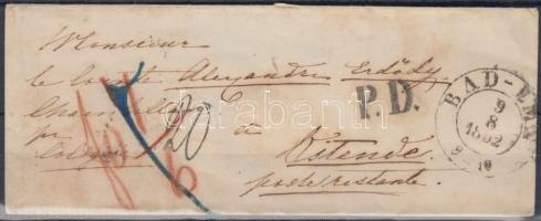 1832 Levél Bad Emsből Belgiumba / Cover from Baden to Ostende / Belgium