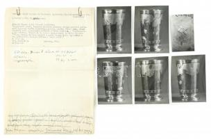Az Orsz. Zsidó Vallási és Történeti Gyűjteményben őrzött ún. Moszkvai pohárról készül 6 db feliratozott fénykép és külön 4 oldalas kézírásos részletes ismertetője, 9x5 cm és 12x9 cm