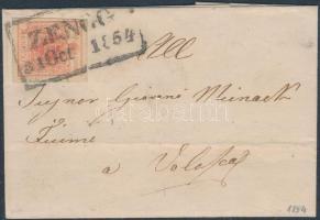 1854 3kr HP III jó / szép szélekkel távolsági levélen / on cover ZENGG / 1854 (Gudlin 300p) - FIUME - VOLOSCA