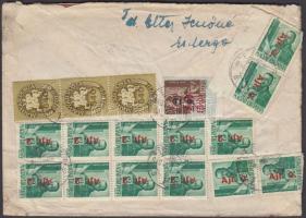 1946 (14. díjszabás) Távolsági levél 17 db bélyeges vegyes bérmentesítéssel
