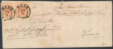 1856 3kr pár / pair (bal szélen kis hajtásnyom / small fold on the left stamp) MP III jó / szép szélekkel távolsági levélen (teljes tartalommal) / on cover (with full content) RAAB - WIEN