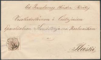 1856 6kr MP III jó / óriási szélekkel távolsági levélen / on cover FIUME / 1856 - KARLSTADT Signed: Matl