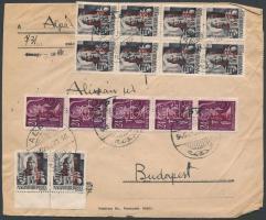 1946 (17. díjszabás) Távolsági levél Betűs III 30x Távolsági levél/18f + 15x Ajánlás/24f bérmentesítéssel / domestic cover franked with 45 stamps