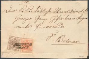 1856 6kr (gyűrött / crease) + 3kr MP III teljes / óriási szélekkel távolsági levélen / on cover GOSPICH - AGRAM - BELLOVAR