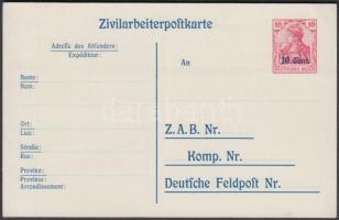 Etappengebiet West 1918 Díjjegyes levelezőlap P9 használatlan