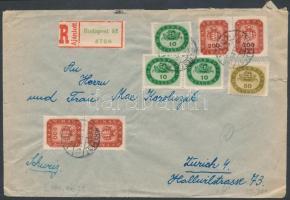 1946 (17. díjszabás) Ajánlott levél Svájcba Milliós és Milpengős vegyes bérmentesítéssel / Registered cover with mixed franking to Switzerland