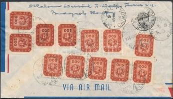 1946 (18. díjszabás) Ajánlott légi levél Kanadába Milpengős 4x200mP + 8x500mP bérmentesítéssel / Registered airmail cover to Canada