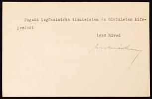 1937 Molnár Imre országgyúlési képviselő saját kézzel aláírt lapja
